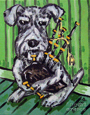 Painting - Schnauzer Playing Bagpipes by Jay  Schmetz