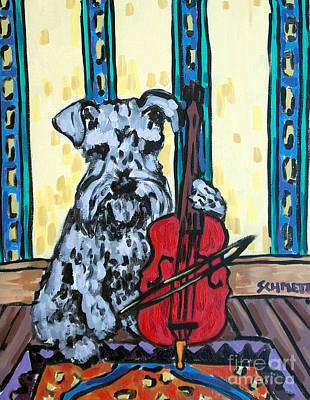 Painting - Schnauzer Playing Cello by Jay  Schmetz