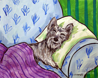 Schnauzer Sleeping Art Print by Jay  Schmetz