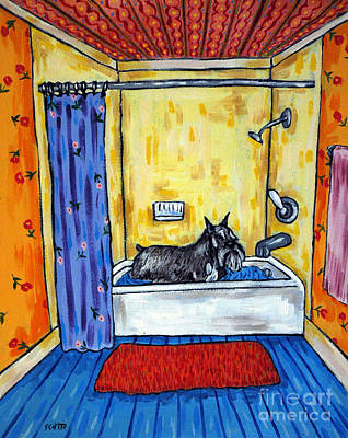 Painting - Schnauzer Taking A Bath by Jay  Schmetz