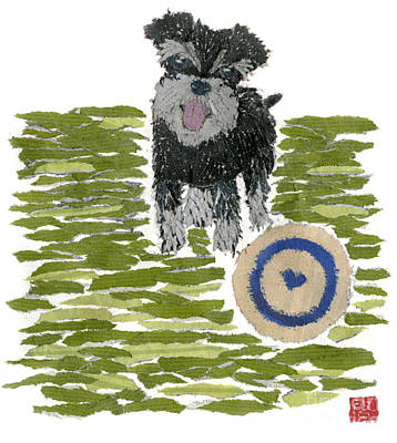 Schnauzer Art Hand-torn Newspaper Collage Art Dog Portrait Art Print by Keiko Suzuki Bless Hue