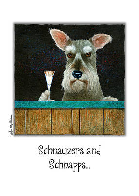 Schnauzer Painting - Schnauzers And Schnapps... by Will Bullas