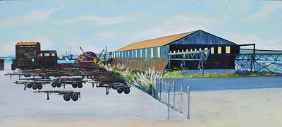 Painting - Schnitzer Steel Warehouse And Rustic Building by Asha Carolyn Young