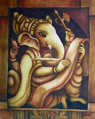 Vinayaka Painting - Scholar Ganesh by Vishwajyoti Mohrhoff