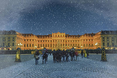 Schonbrunn Christmas Market Art Print by Joan Carroll