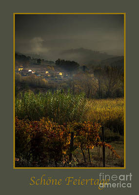 Photograph - Schone Feiertage With Foggy Tuscan Valley by Prints of Italy