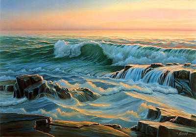 Surf Painting - Schoodic Point Before Sunrise  by Paul Krapf
