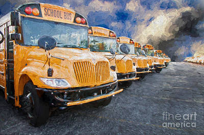 School Bus Photograph - School Bus Lot Painterly by Andee Design