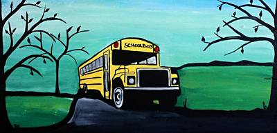 Old School Bus Painting - School Bus Memories by Rachel Olynuk