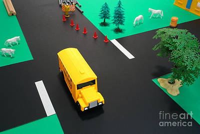 Intersection Photograph - School Bus School by Olivier Le Queinec