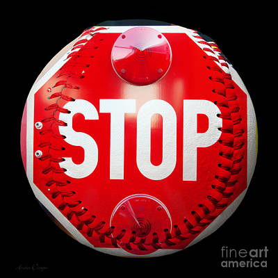 Photograph - School Bus Stop Sign Baseball Square by Andee Design