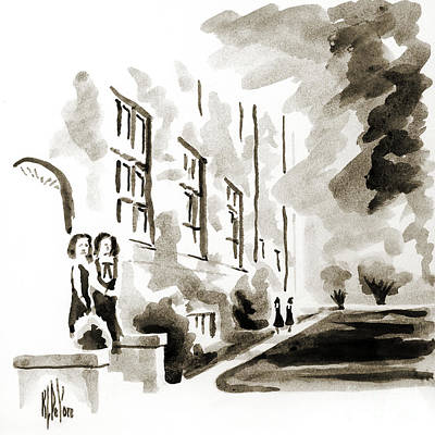 Grayscale Painting - School Days At Ursuline II by Kip DeVore