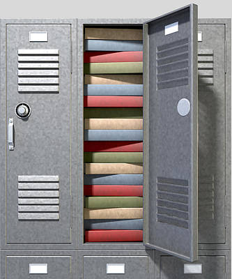 School Locker Crammed Books Art Print