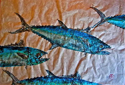 Blue Marlin Mixed Media - School Of Mackerel - Spanish Invasion by Jeffrey Canha