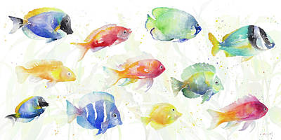 Sea Wall Art - Painting - School Of Tropical Fish by Lanie Loreth