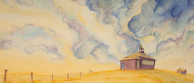 One Room Schoolhouse Painting - School On The Hill by Scott Kirby