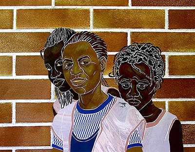 Mixed Media - Schoolgirls by Martha Rucker