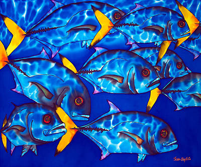 Tropical Art Painting - Schooling  Jack Fish by Daniel Jean-Baptiste