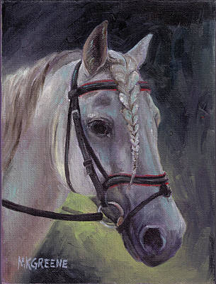 Forelock Painting - Schooling The Lipizzan by Margi Greene