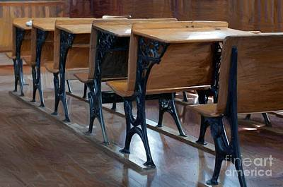 Empty Chairs Painting - Schools Out For Summer - Pleasant Ridge Schoolhouse 1869 by Liane Wright