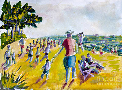 Painting - School's Out On The Beach by Walt Brodis