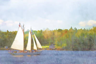 Maine Landscapes Digital Art - Schooner Castine Harbor Maine by Carol Leigh