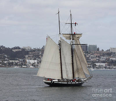 Heading Out Photograph - Schooner Heading Out To The Ocean by John Telfer