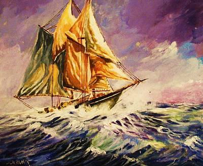 Painting - Schooner In A Squall by Al Brown