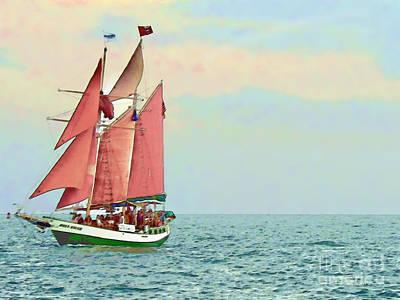Schooner Jolly Rover Key West Art Print by Joan  Minchak