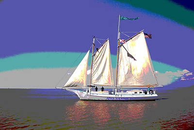 Art Mobile Mixed Media - Schooner Joshua by Charles Shoup