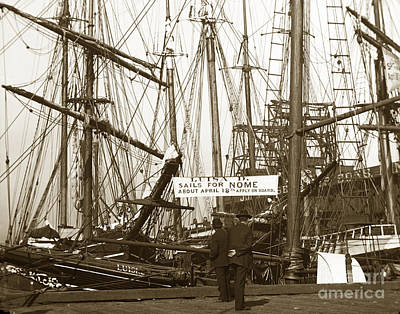 Photograph - schooner Luisa D Sails for Nome Alaska  about April 18 1902 by California Views Mr Pat Hathaway Archives