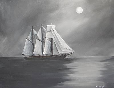 Ghost Ship Painting - Schooner Moon by Virginia Coyle