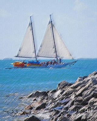 Photograph - Schooner Off Sunset Key  by Art Mantia