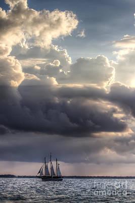 Schooner Pride And Clouds Art Print by Dustin K Ryan