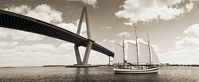 Charter Photograph - Schooner Pride And Cooper River Bridge by Dustin K Ryan
