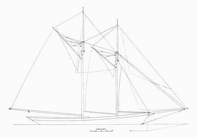 Photograph - Schooner Sail Plan, 1889 by Granger