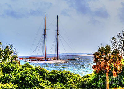 Photograph - Schooner Sailing In Charleston Harbor by Dale Powell