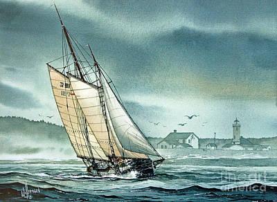 Schooner Voyager Art Print by James Williamson