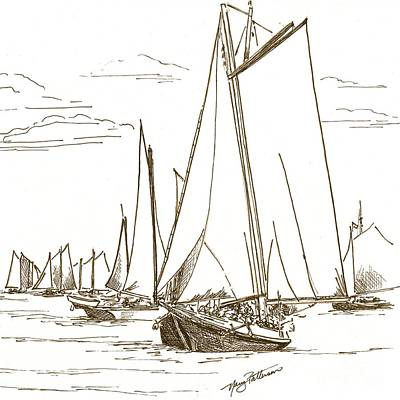 Drawing - Schooners On The Bay 2 by Nancy Patterson