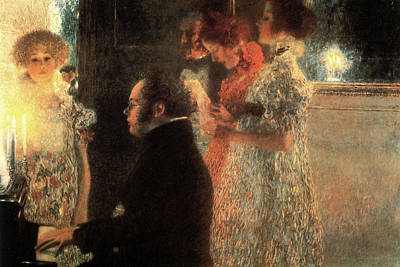 Lady Playing Piano Painting - Schubert At The Piano by Gustav Klimt