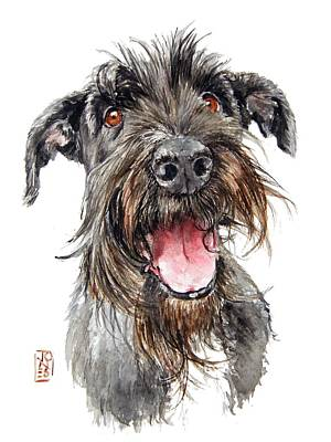 Watercolor Pet Portraits Wall Art - Painting - Schultz by Debra Jones