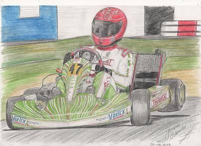 Go Kart Wall Art - Painting - Schumacher On Tony Kart by Gerardo Schneider