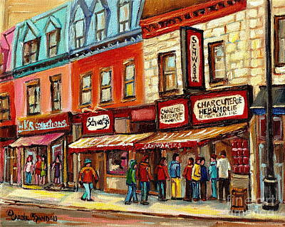 Schwartz The Musical Painting By Carole Spandau Montreal Streetscene Artist Art Print by Carole Spandau