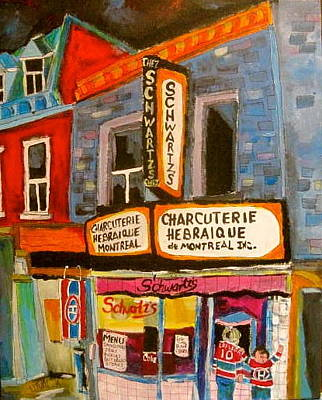 Montreal Icons Painting - Schwartz's And Hockey by Michael Litvack