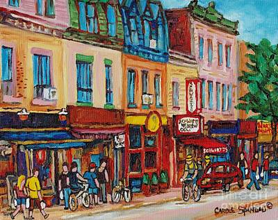 Montreal Memories Painting - Schwartzs Deli And Warshaw Fruit Store Montreal Landmarks On St Lawrence Street  by Carole Spandau