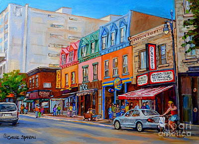 Girl On Bike Painting - Schwartzs Deli Montreal Street Scene by Carole Spandau