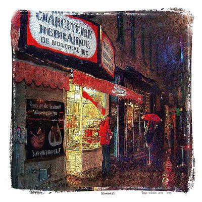 Montreal Restaurants Digital Art - Schwartz's Hebrew Delicatessen by Roger Winkler