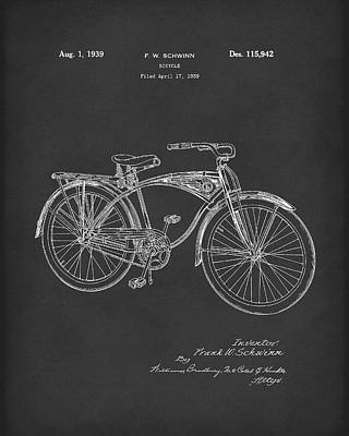Drawing - Schwinn Bicycle 1939 Patent Art Black by Prior Art Design