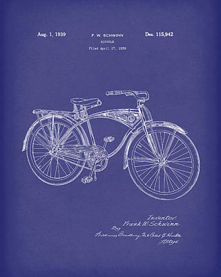 Drawing - Schwinn Bicycle 1939 Patent Art Blue by Prior Art Design