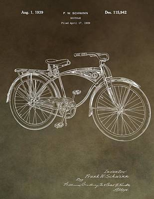 20th Mixed Media - Schwinn Bicycle Patent by Dan Sproul
